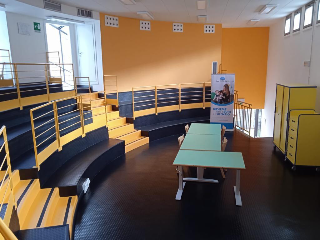 Foto dell'interno della Sede di Novara: un'ampia stanza con da un lato tre file di sedili disposti in gradoni semicircolari (come un piccolo anfiteatro)