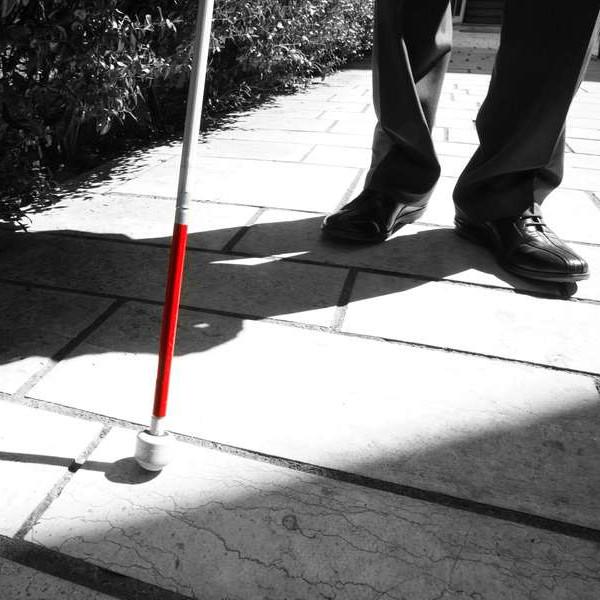 Immagine in bianco e nero di un bastone bianco e rosso per sordociechi. L'unica parte colorata è il rosso, mettendo in evidenza l'oggetto.