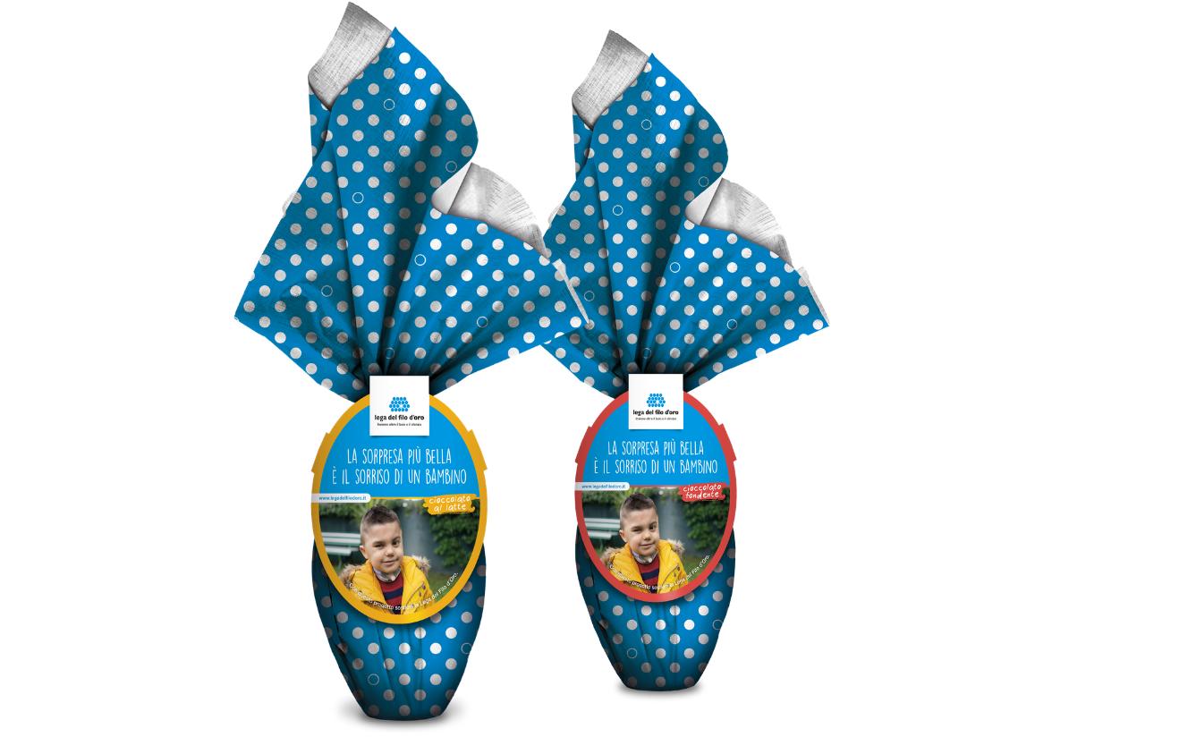 2 Uova di Pasqua al ciocciolato, una al latte e una fondente dell'azienda dolciaria Giammarini per la patnership con la Fondazione Lega del Filo d'Oro